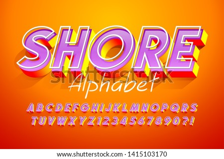 Colorful 3d display font design, alphabet, letters and numbers. Swatch color control