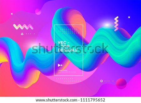 Colorful 3d flow shapes. Liquid wave modern background. Vector graphic