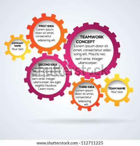Colorful 3d gears teamwork template. Vector illustration.