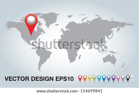 colorful 3d Pointers and world map.