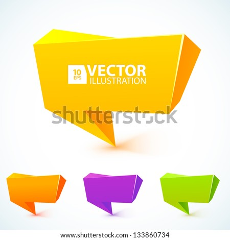 Colorful 3d speech bubbles . Vector illustration for your business website.