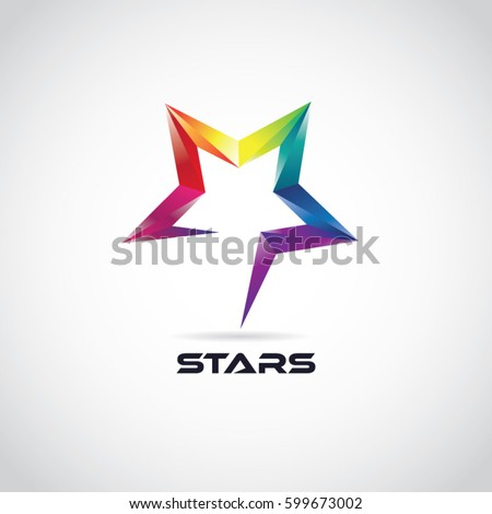 Colorful 3D Star Logo With Symbol Sign Icon