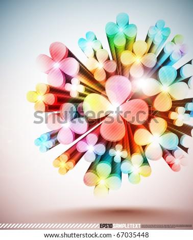 Colorful 3D Vector Floral Motive