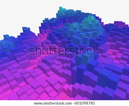 colorful 3d voxel landscape