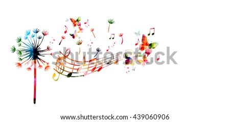 colorful dandelion with music