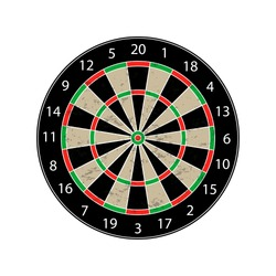 Colorful Dartboard - Textured Vector Illustration - Isolated On White Background