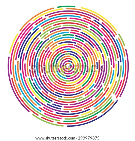 Colorful dashed random concentric circles abstract background