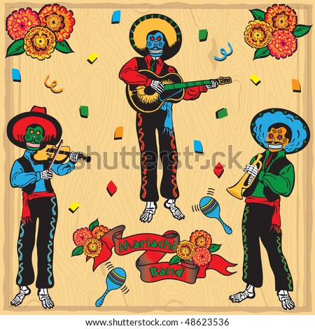 Colorful Day of the Dead Mariachi Band with banner and flowers on a faded wood background