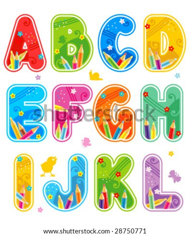 Colorful decorated spring or summer vector alphabet set letters A - L ( for high res JPEG or TIFF see image 28750774 )