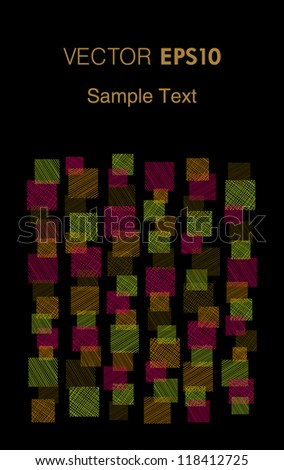 Colorful decorative abstract text background with sample text. Template for design and decoration with square linear ornament and place for your text
