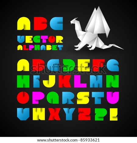 Colorful Decorative Alphabet With Origami Object