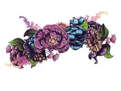 Colorful decorative flower crown, garland, floral illustration.