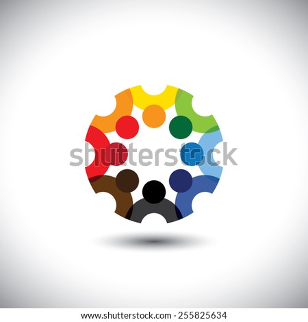 Colorful design of a team of people or children icons. This vector logo template can represent group of kids together or employees in meeting, unity among people, etc.