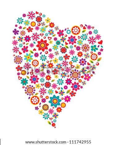 Colorful design of floral heart