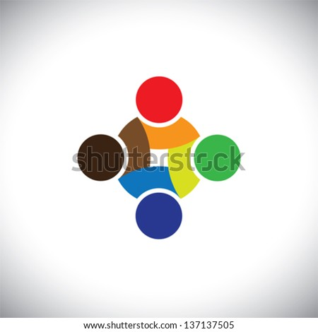 Colorful design of people symbols working as team & cooperating. This vector logo template can represent unity and solidarity in group or team of people, excellent teamwork, etc