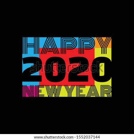 Colorful design symbol Happy New Year 2020. Background or poster design on the black background. Vector illustration EPS.8 EPS.10