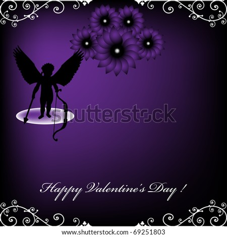 Colorful design with cupid holding an arrow and a bow ready to spread the love