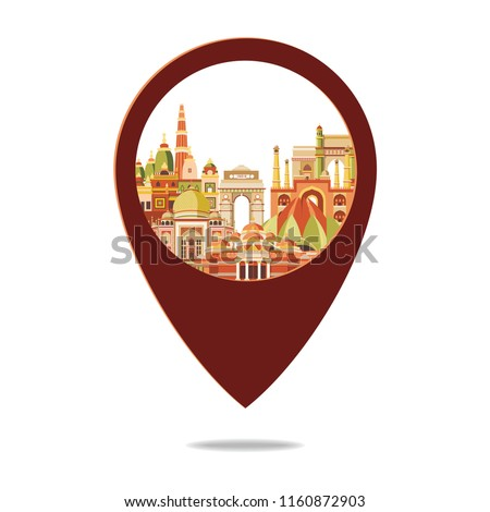 Colorful detailed India skyline. Travel and tourism background. Holy, Diwali, festival of lights. Vector illustration