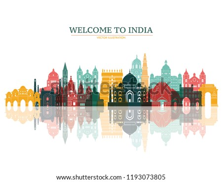 Colorful detailed India skyline. Travel and tourism background. Vector illustration