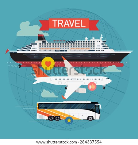 Colorful detailed visual on travel with transatlantic cruiser ship, jet airliner and coach bus | Transport vehicles and vessels on travel and vacation | Travel by sea, roads and sky