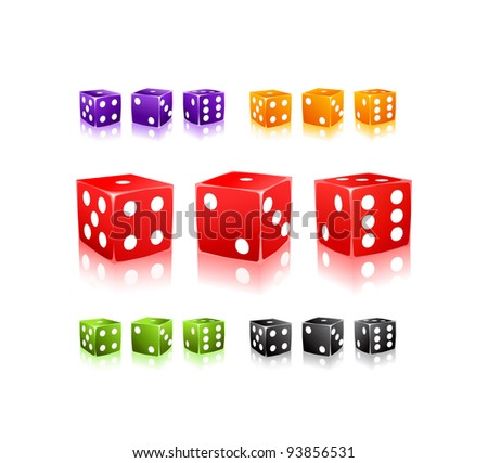 Colorful  Dices with white dots icon set isolated on white background