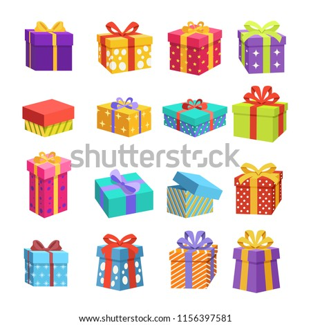 Colorful Different Christmas Gift Icons
