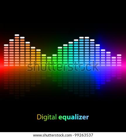 Colorful digital equalizer on black background. Vector illustration