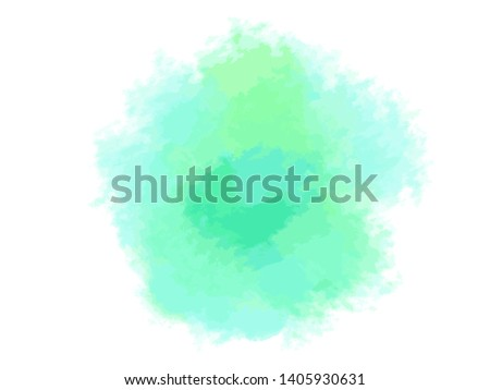Colorful digital spot on isolated white background. Colored aquarelle sample. Hand drawn watercolour splotch. Paint and ink smudges