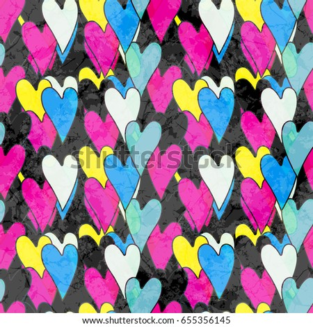 Colorful dirty grunge cracked pattern with hearts