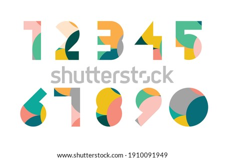 Colorful display numerals from 1 to 0 with overlapping circles pattern Stock photo ©