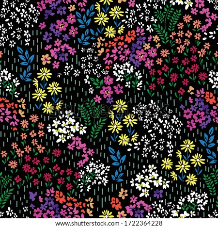 colorful ditsy flower print - seamless background