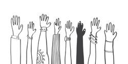 Colorful diversity people raised hands. illustrator vector flat design.