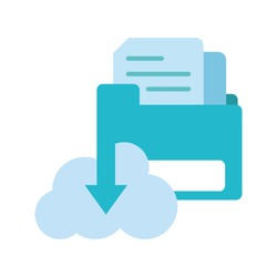 colorful documents inside file folder and cloud downloading