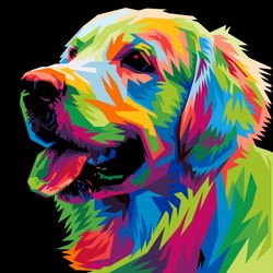 colorful dog head with cool isolated pop art style backround. WPAP style