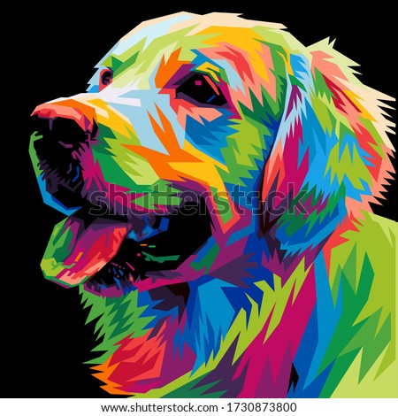 colorful dog head with cool isolated pop art style backround. WPAP style Foto stock ©