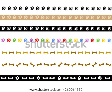 Colorful dog paw prints and dog bone divider collection on white background