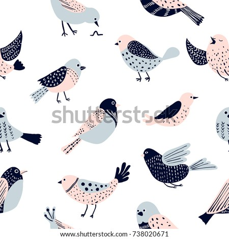 Colorful doodle bird seamless pattern. Collection of flat hand drawn birds. Cute background for textile print, wrapping paper, wall art design