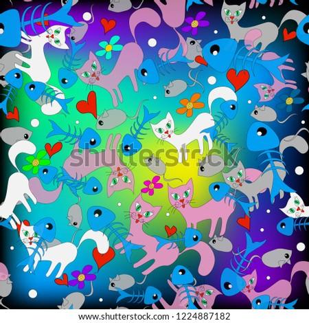 colorful doodle cartoon cats