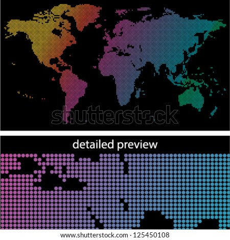 colorful dotted world map on