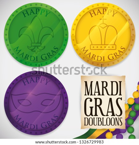 Colorful doubloons decorated with lily flower, crown and mask, necklaces, flag and greeting scroll ready to celebrate Mardi Gras carnival and the traditional object throwing in the parades.