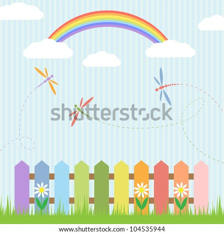 Colorful dragonflies and rainbow. Vector illustration