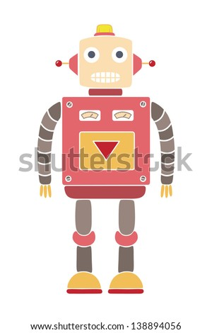 Colorful drawing of a vintage Vintage Robot Drawing