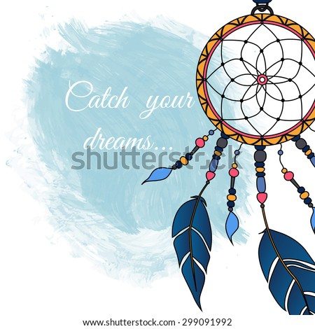 Colorful dreamcatcher. Abstract background with feathers and decorative laces. Ethnic design for card, invitation, party, presentation, greeting, boho. Catch your dream text. Vector illustration. Foto stock ©
