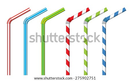 Colorful drinking straws vector set Stock photo ©