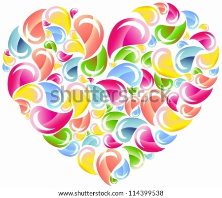 Colorful drops splashing heart, Abstract background, vector
