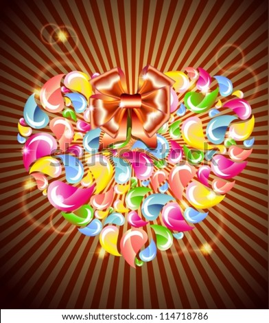 Colorful drops splashing heart with light and bow, Abstract background, vector