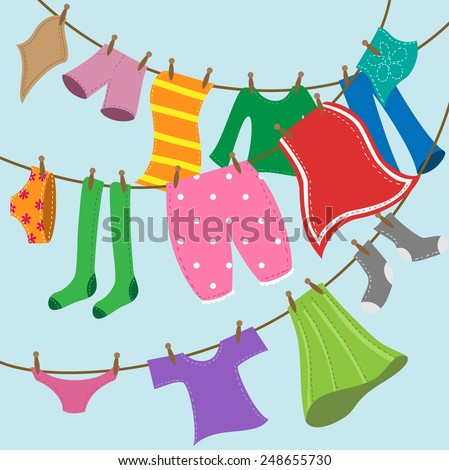 colorful drying clothes on rope