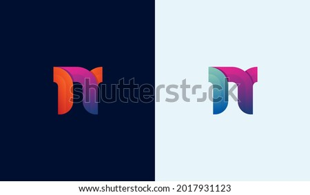 Colorful dynamic initial logo design letter N Foto stock ©