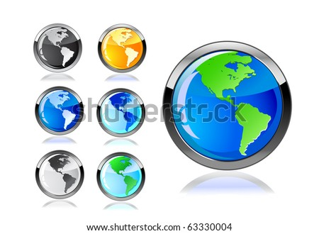 colorful earth icon set isolated on white background