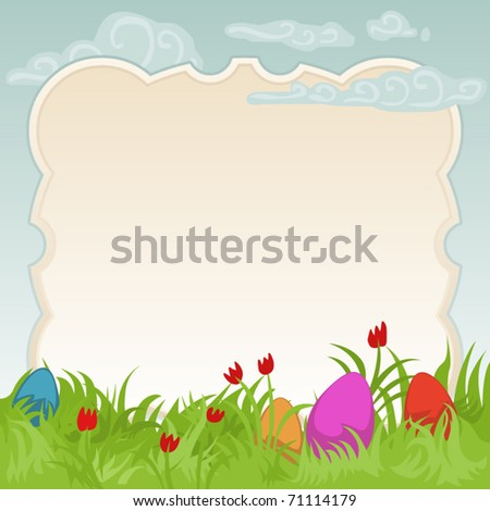 colorful easter background with frame